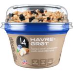 14 Havregrøt med ristede mandler, tørket blåbær og krisp